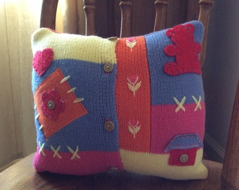 Color Blocked Sweater Pillow