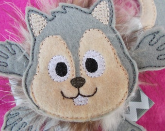 Over The top Squirrel Hair Bow - OTT Squirrel Hair Bow - Boutique Hair Bow - Gray Squirrel Boutique Hair Bow