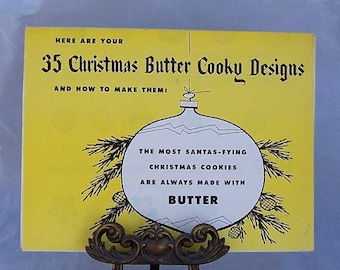 Vintage Butter Cookie Kit Recipes and cut-out Patterns c1950s Christmas Cookies