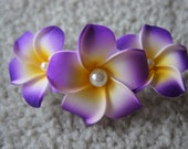 Purple Plumeria Comb Shape Hair Clip (With Pearls)