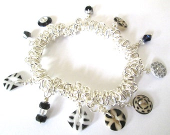 BLACK & WHITE STRETCH antique button bracelet, 1800s buttons, silver links, wire-wrapped glass bead dangles