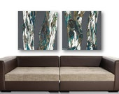 Dining room wall art gift for him men living room Extra LARGE print set Oversized Diptych Tree trunks decor Teal Blue Gray kitchen bedroom