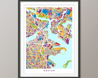 Boston Map, Boston Massachusetts City Street Map, Art Print (1537)