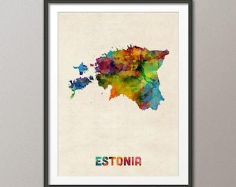 Estonia Map, Eesti Watercolor Map, Art Print (1917)