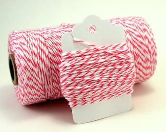 Dark Pink Twine - Striped Pink Bakers Twine - Bright Pink Cotton String - Baby Shower Twine - Raspberry Divine Twine - Fairy Favor Twine