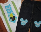 Baby Mickey Mouse First Birthday Outfit, Cake Smash Outfit for Boys Chevron Tie and Green Suspenders with Knee Patch Pants