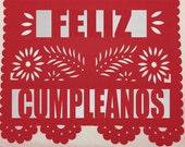 Fiesta Papel Picado Banner (Includes Name & Happy Birthday or Feliz Cumpleanos Message - Alternating Flags)