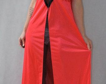 Salmon Pink & Black Lace Slip