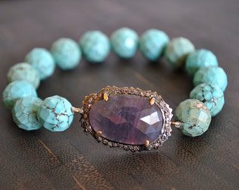 Pave Diamonds sapphire STRETCHY turquoise bracelet.