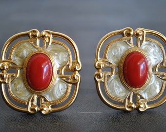 VINTAGE MONET CLIP enamel earrings