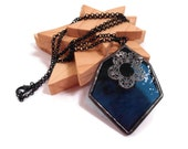 Stained Glass Necklace Navy Blue Glass Pendant Handmade Jewelry Glass and Metal Jewelry Unique Glass Pendant Statement Necklace Blue Jewelry