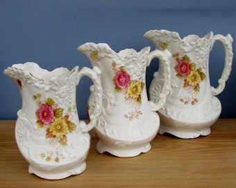 Three Victorian Jugs in Truro Pattern by Allerton's England Graduated Matching Water Pitchers