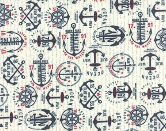 The Boat House Navy Anchor by Sweetwater for Moda - One Yard - 5551 13