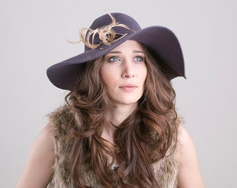 Lavender grey fur felt floppy hat with feathers and crystals, fall-winter velour hat