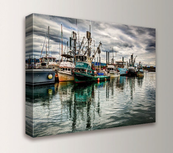 "Fine Art Photography - Canvas Print - Nature Photography - Ships on the Water - Home Decor - "" Harbor 3 """