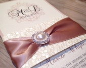 Wedding Invitation with pebble paper and brooch Belly Band and Soft, Elegant Detailing / Custom Monogram