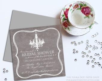 Chandelier and Damask Bridal Shower Invitations