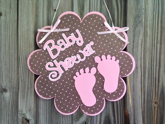Baby shower door hanger with adorable pink by pinkpaperpalooza for Baby shower door decoration