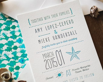 Modern Letterpress Wedding Invitation: Seaside Inspired