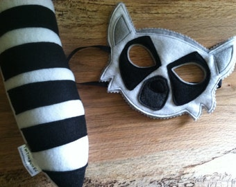 LEMUR Costume - Felt Animal Mask and Tail - Wool or Eco Felt - Mask and Tail Costume Gift Set
