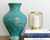 Large Vintage Asian Vase Turquoise Blue Vase Regency Palm Beach Chinoiserie Chic Decor