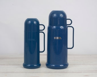 Vintage Pair of Thermoses Blue Plastic Thermoses With Glass Liners His And Hers