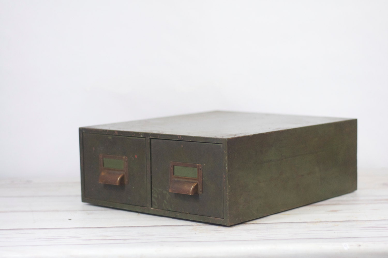 Vintage Globe Wernicke Green Metal 2 Drawer Card File