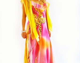 Yellow and orange orhids/Hand painted dress/Maxi dress/Prom dress/Rose bridesmaide dress/ Evening dress/Painted flowers/Wedding dress/D0050