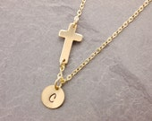 Gold Sideways Cross, 1-4 discs, cross necklace, gold cross, religious necklace, initial necklace, personalized, handstamped, N14