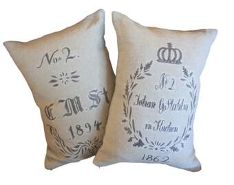 Pair of  Grain Sack Pillow Shams
