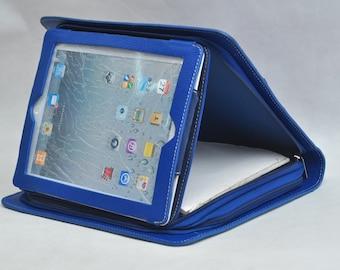 ipad pro 9.7'' folio Multi-functional portfolio bags iPad1/2/3/4 or iPad Air2 , notepad case business conference leather portfolio in blue