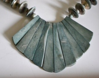 Vintage Bone & Silver Statement Necklace.  Blue. Chic. Unique Gift. Tribal, Boho. Gift Ready!