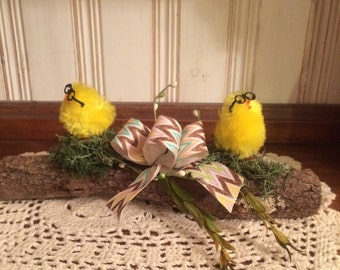 Rustic Easter / Spring Chicks On A Log Decoration