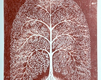 Indian Tree limited edition woodcut