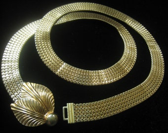"CLEARANCE FORSTNER Mesh Belt. Mid Century Vintage. Gold Tone Mesh with 2-Leaf Clasp Cover.  31-1/4"" Clasped Length."