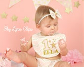 Pink & Gold Birthday Cake Smash Outfit Bib Bloomers and Bow