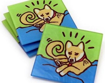 Shiba Inu Dog Tempered Glass Coasters