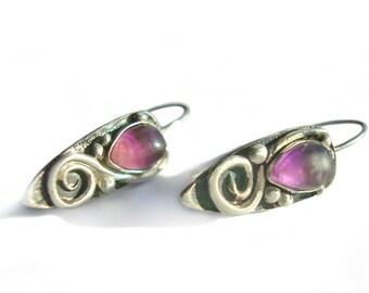 SALE 20% OFF. Amethyst Earrings. Silver Earrings. Teardrop-Shaped Earrings. Handmade and artistic work.