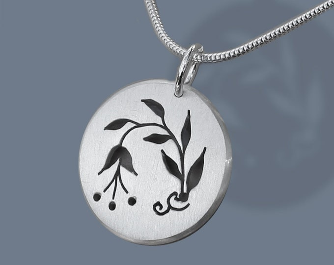 Silver Spring Pendant, Spring Buds, Sterling Silver, Hand Pierced.