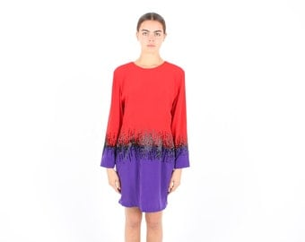 SALE - 80s Designer Two-Tone Colourblock Abstract / Arty / Avant Garde Beaded Long Sleeve Mini Shift Party Dress