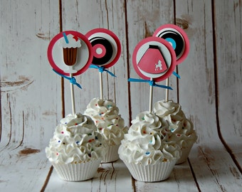 Sock Hop Birthday Party Cupcake Toppers, Fab 50s Party Decorations, 1950s Birthday (set of 12)