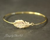 Bangle, Bracelet, Feather, Peacock, stackable bangles, Gold feather, bridal bracelet, wire bangle, silver feather, gold bracelet