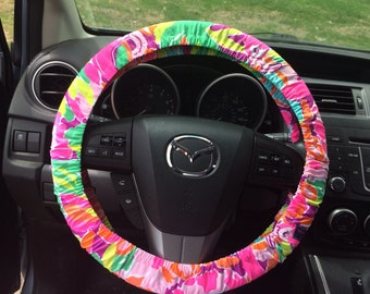 Steering Wheel Cover made with Lilly Pulitzer's Lulu fabric