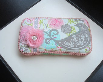 Boutique Diaper Wipes Travel Case Aqua Pink Gray Grey Floral Girl Bird
