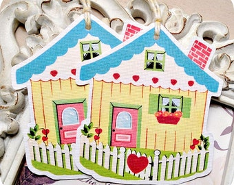 Cottage Gift Tags (6) Housewarming Gift Tags-Birthday Gift Tags-Welcome Home Tags-Bridal Shower Tags-Wedding Gift Tags-Where the Heart Is