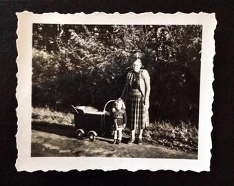 Original Antique Photograph Visiting the Park 1948