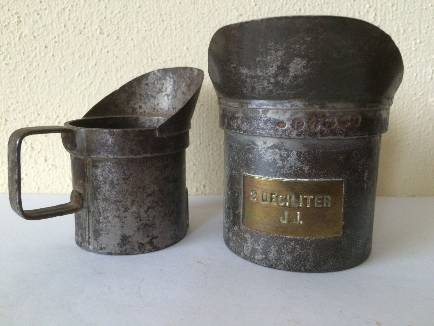 2 Antique Tin Measuring Cups Brass Labeled Kitchen Decor