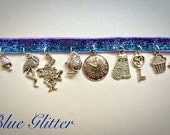Alice in Wonderland Charm choker in Rainbow Glitter or Blue Glitter