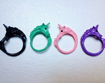 Unicorn Ring in Mint, Pastel Pink, Purple & Black