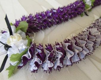 Hawaiian Ribbon Lei Dark Purple and White Grosgrain Lehua Sparkle